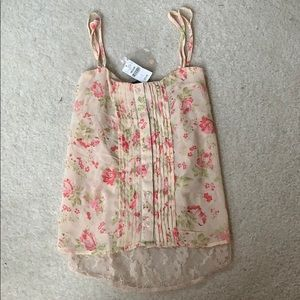 Floral Chiffon Tank with Lace Back - Size M